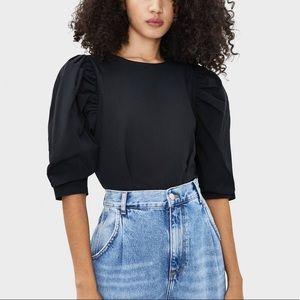 Berksha Black Puff Sleeve Fitted Crop Top